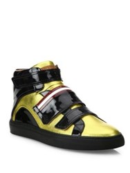Bally Herick Sheep Leather High Top Sneakers Gold
