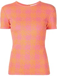 Christian Siriano Houndstooth Knit Top Yellow And Orange