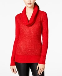 Amy Byer Bcx Juniors' Sequin Mixed Knit Cowl Neck Sweater Red