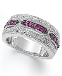Macy's Ruby 1 4 Ct. T.W And Diamond Accent Band In Sterling Silver
