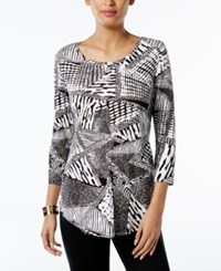Jm Collection Printed T Shirt Only At Macy's White Sahara Text