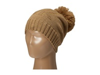 Michael Michael Kors Seed Stitch Hat With Self Knit Pom Pom Dark Camel Knit Hats Taupe