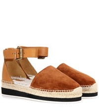 See By Chloe Fur Lined Suede And Leather Espadrilles Brown