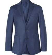 Hackett Blue Woven Wool And Cashmere Blend Blazer