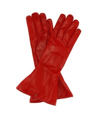 Dolce And Gabbana Leather Gloves Red
