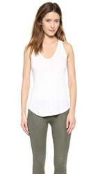 David Lerner V Neck Racer Tank White