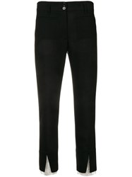 Ann Demeulemeester Tulle Detailed Cropped Trousers Black