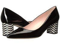 Kate Spade Milan Black Patent Black White Chevron Women's Shoes
