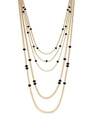 Saks Fifth Avenue Multi Strand Beaded Chain Necklace Gold Black