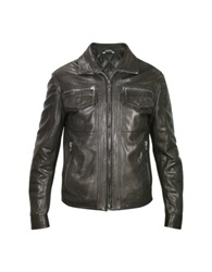Forzieri Men's Black Genuine Leather Motorcycle Jacket