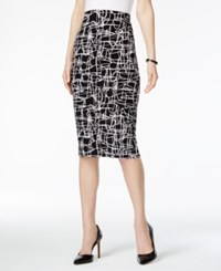 Alfani Printed Pencil Skirt Only At Macy's Large Scribble Black White
