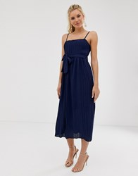 Girl In Mind Pleated Square Neck Midaxi Strap Dress Navy
