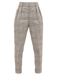Isabel Marant Ceyo Checked Slim Fit Trousers Grey