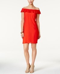 Ny Collection Off The Shoulder Lace Dress Fresh Red