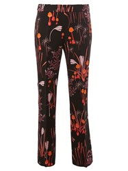 Giambattista Valli Floral Print Straight Trousers Black