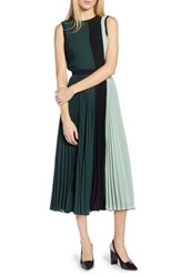 Halogen X Atlantic Pacific Colorblock Pleated Midi Dress