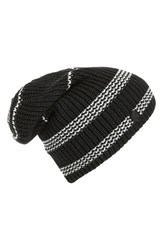 Women's Vince Camuto Stripe Thermal Slouchy Beanie Black Caviar