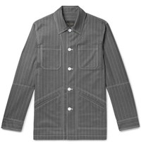 Versace Pinstriped Virgin Wool Shirt Jacket Gray