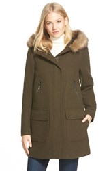 Women's Vince Camuto Faux Fur Trim Hooded Wool Blend Duffle Coat Loden
