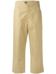 Isabel Marant Cropped Straight Leg Trousers Brown