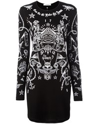 Givenchy Tattoo Print Long Sleeve Dress Black