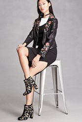 Forever 21 Velvet Floral Embroidered Boots Black Multi