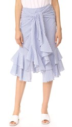 Wayf Quinn Ruffle Skirt Blue Stripe