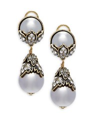 Heidi Daus Faux Pearl And Swarovski Crystal Drop Earrings Dove Grey