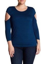 14Th And Union 3 4 Length Sleeve Cutout Shirt Plus Size Blue