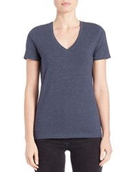 Lord And Taylor Petite V Neck Tee Deep Blue Heather