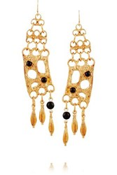 Ben Amun Gold Plated And Cabochon Earrings Gold