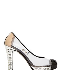 Archive Chanel Plastic Heels Silver