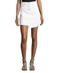 Rag And Bone Dive Uneven Frayed Denim Skirt White