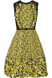 Oscar De La Renta Corded Lace Paneled Brocade Dress Bright Yellow