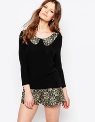 Traffic People Jumper With Jacquard Collar Black