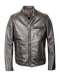Schott Waxed Cafe Leather Jacket Black