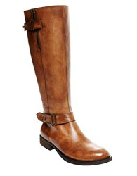 Steve Madden Alyy Leather Riding Boots Cognac