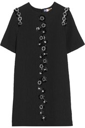 Msgm Embellished Matelasse Mini Dress Black