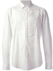 Tom Rebl Pleated Shirt White