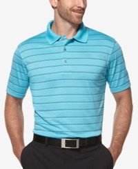 Pga Tour Men's Big And Tall Airflux Striped Golf Polo Blue Atoll