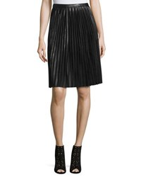 Carmen By Carmen Marc Valvo Pleated Faux Leather Midi Skirt Black