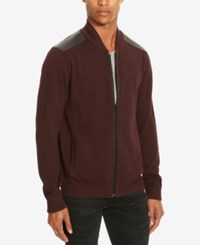 Kenneth Cole Reaction Men's Mixed Media Sweater Jacket Merlot