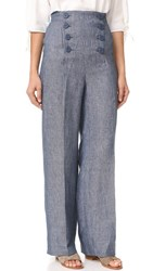 Bb Dakota Skye Linen High Waisted Pants Dark Blue