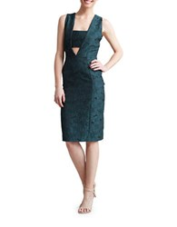 Paper Crown Prague Sleeveless Embroidered Sheath Dress Evergreen
