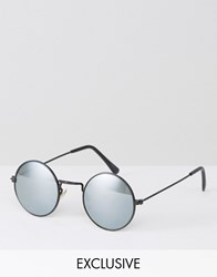 Reclaimed Vintage Inspired Black Metal Round Sunglasses With Mirrored Lens Black