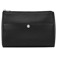 Reiss Watson Grained Leather Panel Wash Bag Black