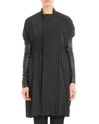 Rick Owens Drawstring Coat W Leather Sleeves Black