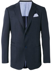 Z Zegna Notched Lapel Check Blazer Blue