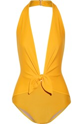 Adriana Degreas Knotted Halterneck Swimsuit Yellow