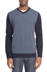 Paul And Shark Men's Solid Stripe V Neck Wool Sweater